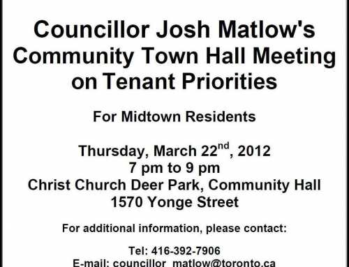 NOTICE: Town Hall Meeting on Tenants' Priorities hosted by Councillor Josh Matlow