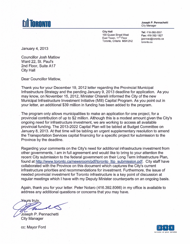Reply from City Manager Joe Pennachetti, January 7, 2013