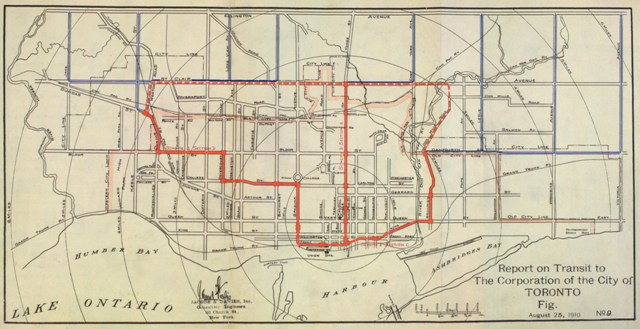 Map of 1910 relief line subway plan for Toronto.